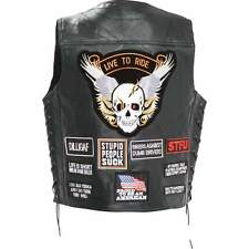 Mens Black Leather Motorcycle Biker Vest With Patches  Concealed Carry Holster