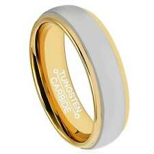 6mm Tungsten Carbide Ring Dome Comfort Fit Men's Wedding Band Gold Tone Edge
