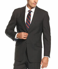 Tommy Hilfiger Trim Fit Black Pinstriped Two Button Wool Suit With Peak Lapels