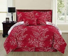 NEW Full Queen King Bed Red White Nature Trees Xmas Reversible 6pc Comforter Set