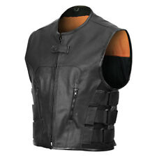 SWAT Team Bulletproof Style Leather Vest Single Back Panel for Patches Euro