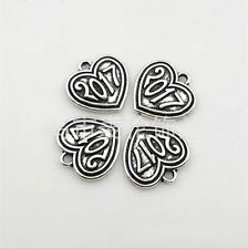 "20/100pcs Tibetan Silver New Year Lucky ""2017"" Charms Heart Pendant 17x17mm"