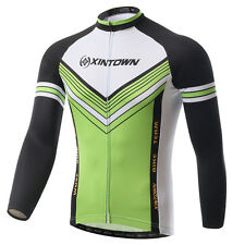 Mens Bike Maillot Top Cycling Jerseys Long Sleeve Bicycle Jacket Green S-5XL