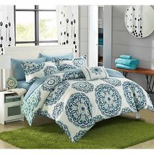 NEW Twin Full Queen King Bed Bag 8 pc Blue White Medallion Comforter Sheet Set