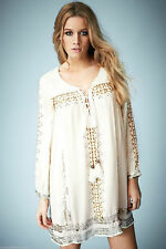 TOPSHOP Embroidered Smock Blouse Top by Kate Moss Size UK16/EUR44/US12 NEW