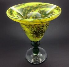 Vintage Retro Art Glass Goblet Vase Signed Handblown 2005 Splatter Mottled Glass