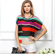 New Korean Women Girls Stripes Bats Vest Tank Chiffon Tops Blouse T shirt S-XXXL