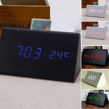 Modern Cube Snooze Wooden Digital LED Desk Voice Control Alarm Clock Thermometer