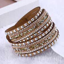 Women Punk Rhinestone Crystal Bracelet Leather Wrap Wristband Cuff Bangle