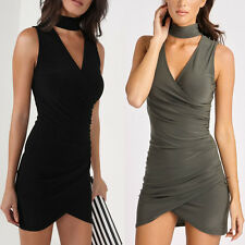 Womens Plunge Choker Neck Wrap Front Over Side Ruched Ladies Mini Bodycon Dress