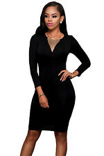 Women Black Cut out Back Long Sleeves Bodycon Dress Party Evening Wear size S~L