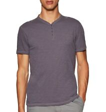 John Varvatos Star USA Men's Short Sleeve 4 Snap Henley Dry Fig $98 msrp NWT