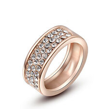 Size6,7,8 18K Rose Gold Filled 3 Rows Jewelry AUT Crystal Women's Rings Gift