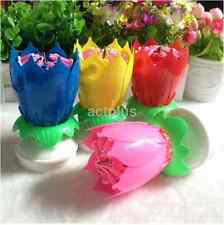 Rotating Musical Blossom Lotus Flower Rotatable Birthday Candles Pink Blue Red S