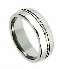 8mm Titanium Band Titanium Ring Grooved with Braided Sterling Silver Inlay