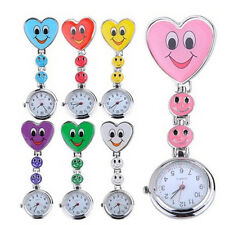 Adorable Smiling Face Love Heart Clip-on Nurse Doctor Brooch Fob Pocket Watch