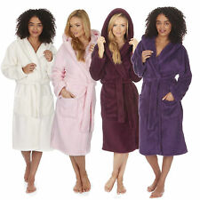 Ladies Super Warm Snuggle Soft Fleece Hooded Dressing Gown Plain Robe Size S-4XL