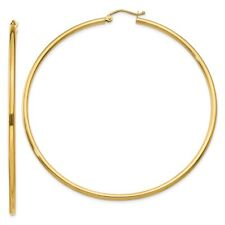 2 mm Classic Hoop Earrings in Genuine 14k Yellow Gold - 14 to 76mm