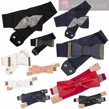 NEW LADIES FASHION BELTS DIAMANTE ELASTIC BOW LEATHER BOW WAISTBAND