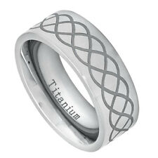 Men 8mm Titanium Band High Polished Pipe cut Ring Laser Engraved Infinity