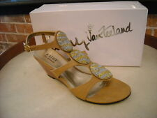 Kathy Van Zeeland 'Goldie' CAMEL Jeweled Wedge Sandal NEW