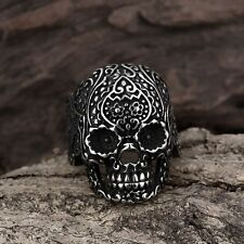 Men Fashion 316L Stainless Steel Punk Floral Skull Biker Ring Jewelry Size 8-11