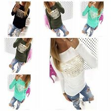 Lady Long Sleeve Bandage Letter Pullover Cotton Tee T-Shirts Tops Blouses S-XL