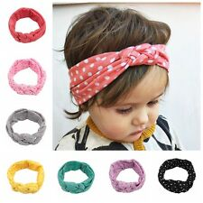 JP Girls Polka Dots Baby Cotton Headband Knotted Bow Head Wraps Hair Bands