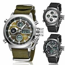 OHSEN Mens Military LED Analog Digital Quartz Nylon Band Sports Stop Watch 3ATM