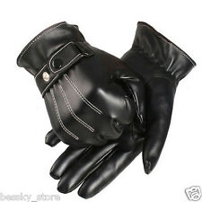 Luxury Mens Gloves PU Leather Cashmere Winter Warm Sport Driving Gloves Mittens