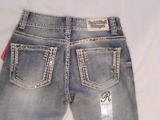 Rock & Roll Cowgirl NWT Ladies Juniors Jeans Mid Rise W1-6705 Bling Rodeo