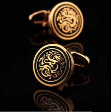 NEW Men Chinese Dragon emblem Cufflinks Gift Box  Festival Cuff Links FREE GIFT