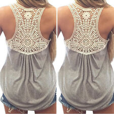NEW Women Summer Casual Lace Vest Top Splice Blouse Sleeveless Tank Tops T-Shirt