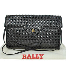 AUTHENTIC BALLY LOGOS SHOULDER BAG PATENT LEATHER BLACK VINTAGE ITALY RB982b