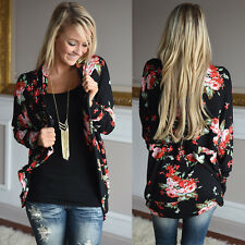 Fashion Womens Long Sleeve Floral Cardigan Coat Jacket Outwear Loose Jumper Tops