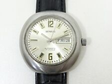 VINTAGE BENRUS AUTOMATIC 17 JEWELS DAY AND DATE 40MM MEN WRIST WATCH COLLECTABLE
