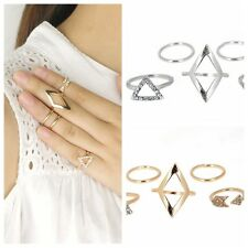 5pcs/Set Ladys Mid Midi Above Knuckle Ring Band Gold Silver Tip Finger Stacking