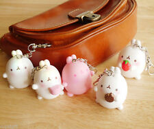 """Molang Authentic 2"""" Figure Key Ring Holder Strap Camera Bag Pouch Cute Keyring"""