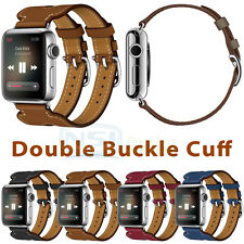 Luxury Leather Double Buckle Cuff Watch Band Strap For Apple Watch 38mm/42mm