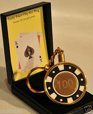 LUCKY POKER CHIP KEYRING - 24 CARAT GOLD PLATED - NEW BOXED - IDEAL GIFT