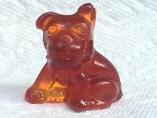 Amber Glass Pencil Dog, Cambridge Mold, Handmade by Boyd.