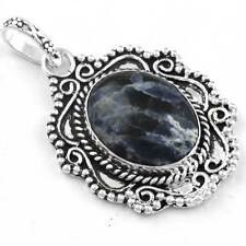 Natural Sodalite Gemstone Handmade Pendant 925 Sterling Silver Overlay mm90977