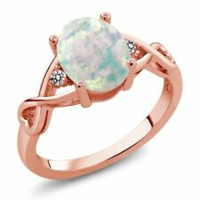 0.66 Ct Oval Cabochon White Simulated Opal White Diamond 18K Rose Gold Ring