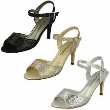 'Ladies Anne Michelle' Peep Toe Glitter Heeled Sandals - F10467