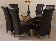 Valencia 160cm Wood & Glass Dining Room Table & 6 Brown Leather Montana Chairs
