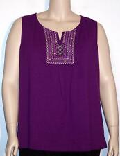 NWT St Johns Bay Beaded-Inset Embroidered Sleeveless Tank Top Purple 1X 3X