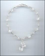 Beautiful Sterling Silver Charm Anklet with Swarovski CLEAR Crystal Hearts