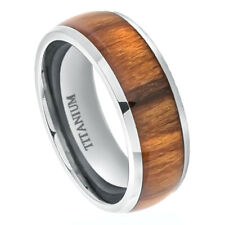 8mm Titanium Band Ring High Polished Domed with Santos Rosewood Inlay / Gift box