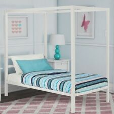 Girls Twin Full Queen White Metal Canopy Bed Frame Headboard Bedroom Furniture