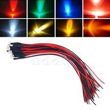 3V Pre-Wired Water Clear LEDs diode Light 3mm Round 20cm Cable Color options MA
